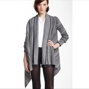 BB Dakota Black & White Kali Knit Wrap Cardigan